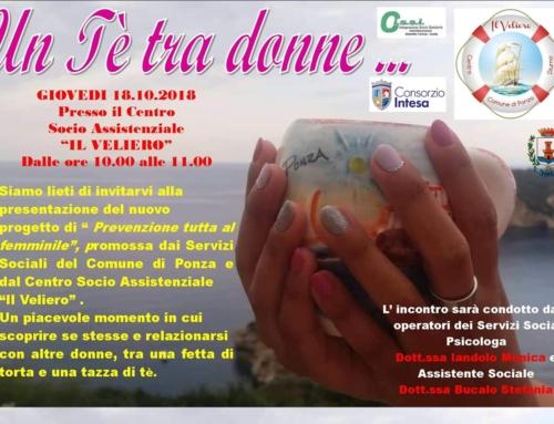 """""""Nessun uomo è un'isola"""": al Centro Diurno polifunzionale """"Il Veliero"""" di Ponza parte il progetto """"Un tè tra donne""""."""
