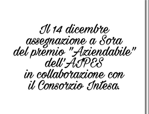 """Il 14 dicembre assegnazione a Sora del Premio """"Aziendabile"""" dell'AIPES in collaborazione con il Consorzio Intesa"""